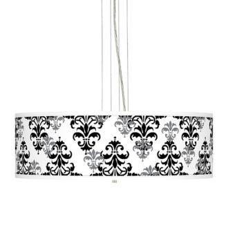 Damask Shadow Giclee 24 Wide Four Light Pendant