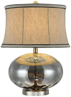 Fiona Stone Pattern Smoky Gray Glass Table Lamp Y6616